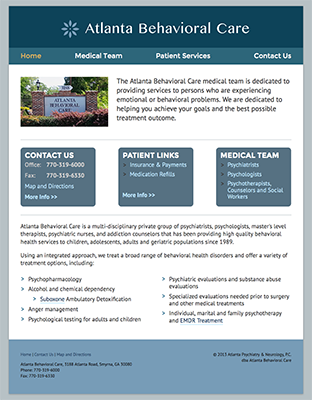 Screenshot from Atlanta Behavioral Care Website