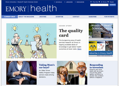 Screenshot from Emory Health Magazine Content Management